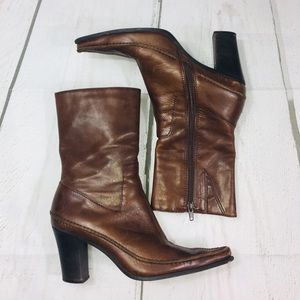 Diba Brown Leather Pointy Toe Fall Winter Boots